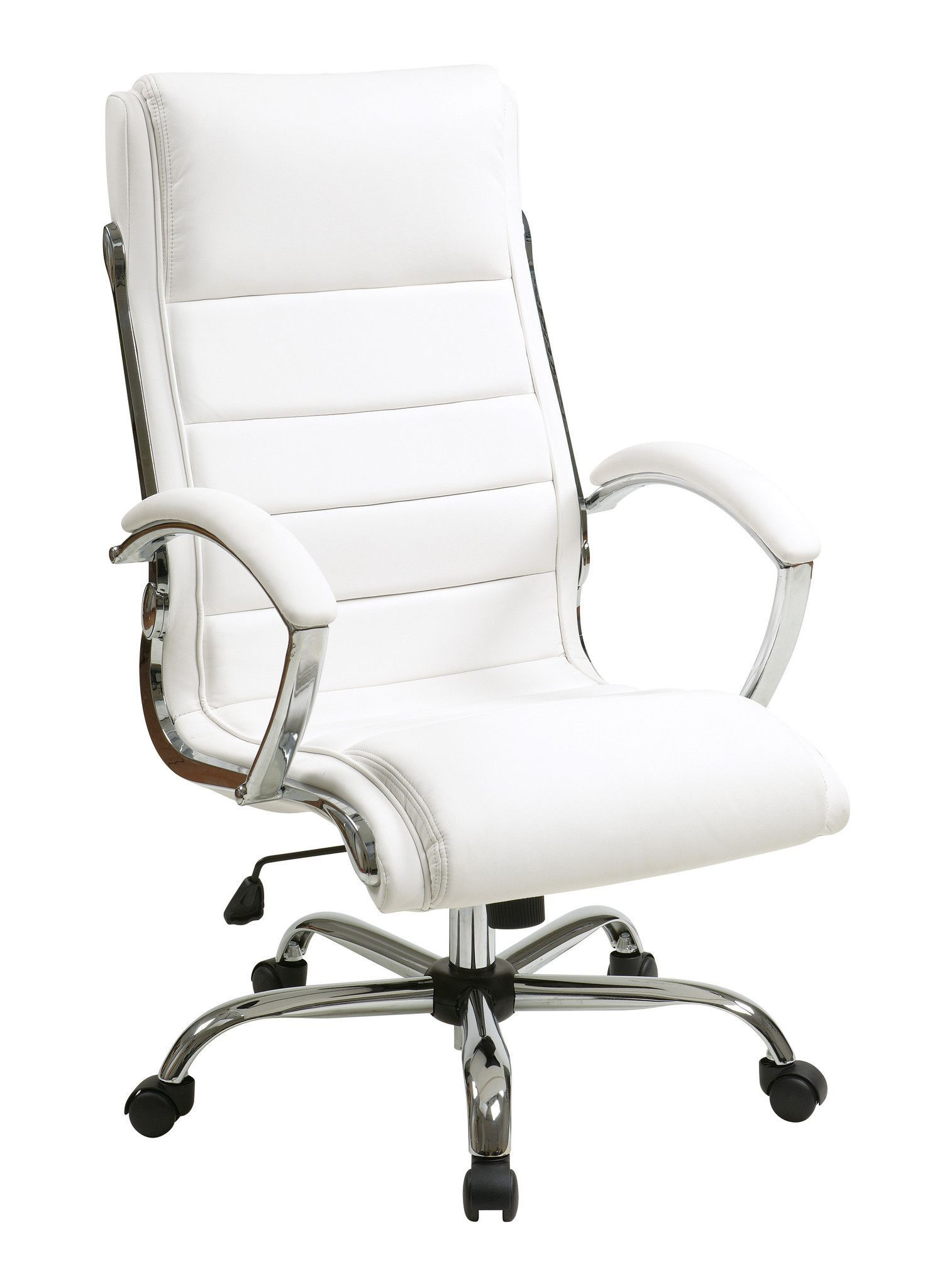 Office Star Executive Chair with thick padded White faux