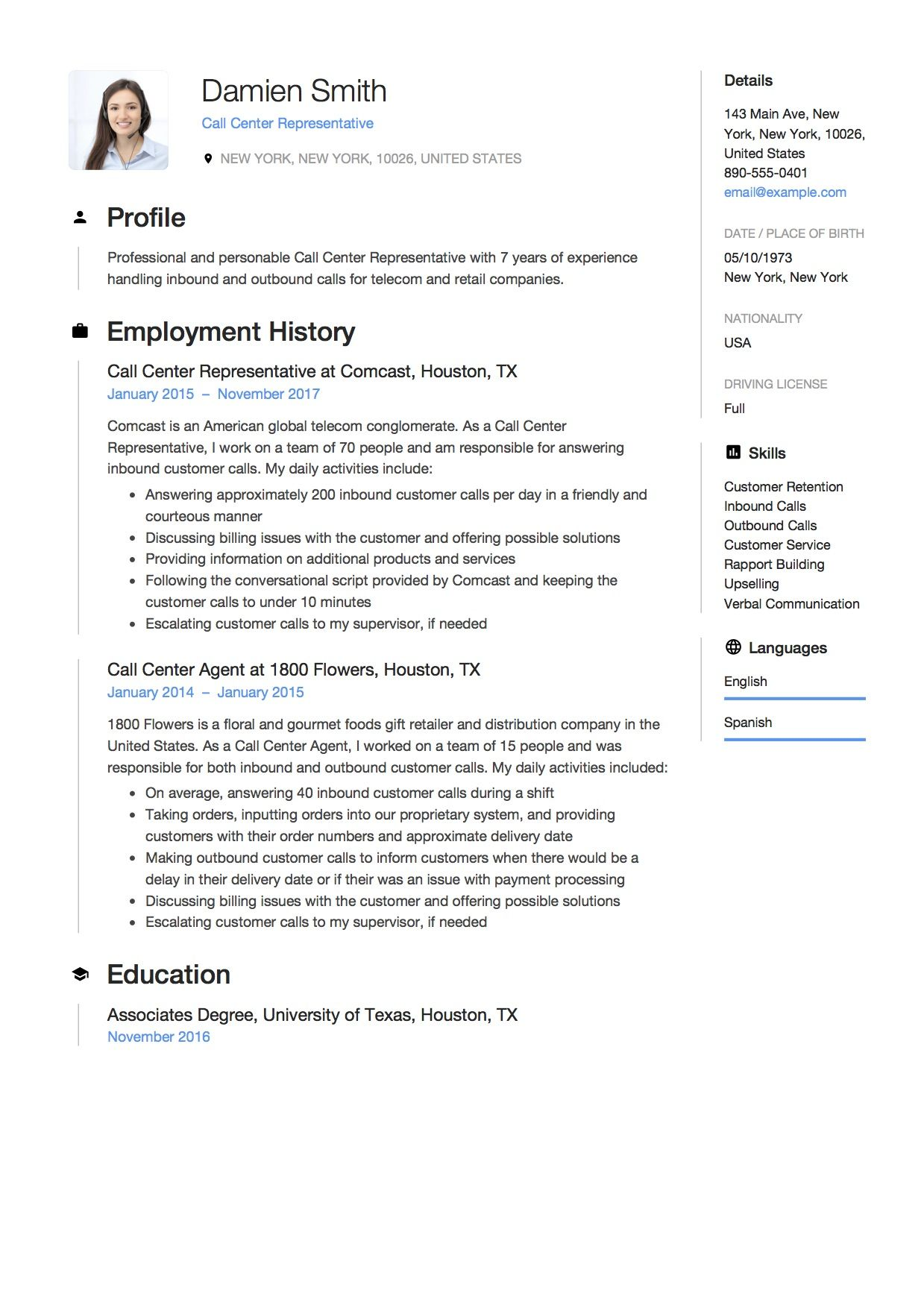 Resume Sample for Call Centre Representative. Aka Template