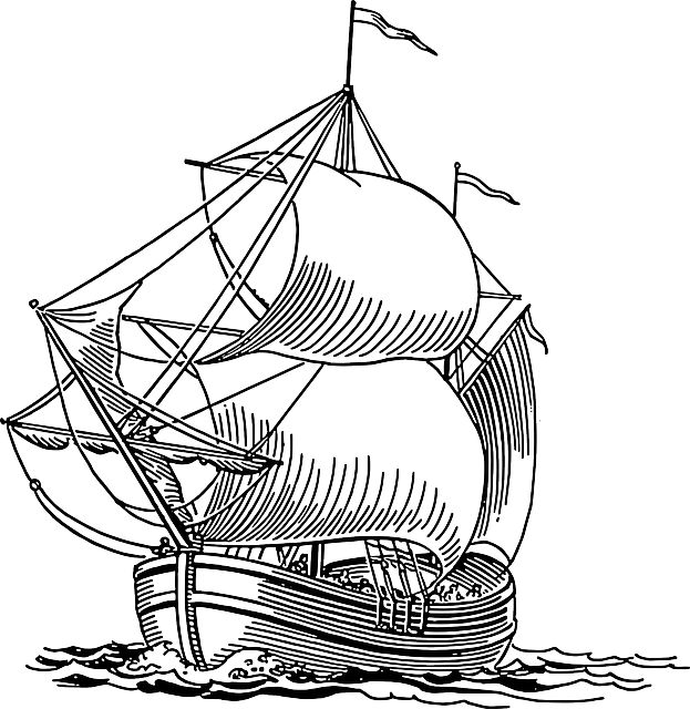 Line Drawing Ship : Sailing ship boat pirate ocean sea travel clipart