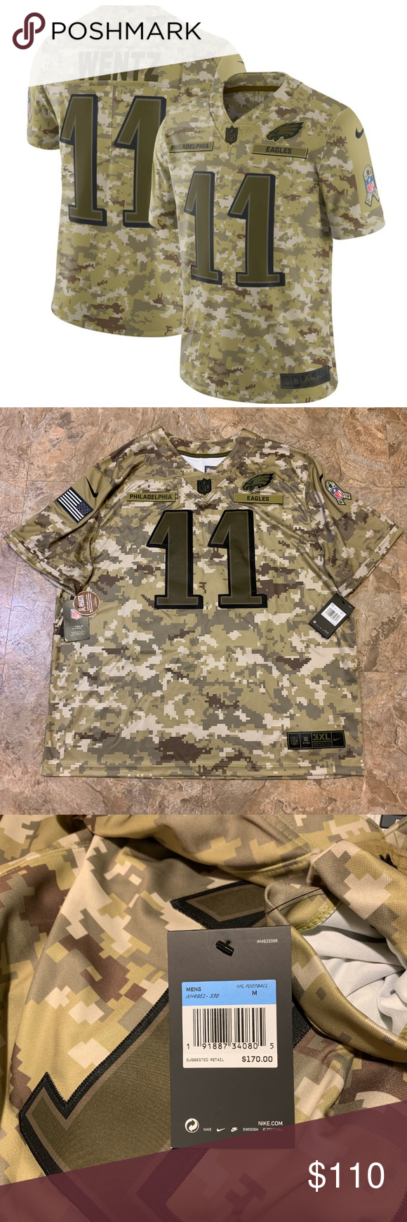Nike Salute to Service Carson Wentz Eagles Jerseys Brand New with Tags! Nike Salute to Service Limited Philadelphia Eagles Carson Wentz Jerseys Men's Sizes Medium & 3XL Nike Shirts #salutetoservice