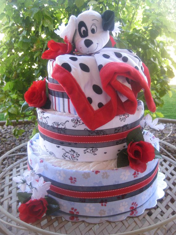 On Sale 101 Dalmatians Diaper Cake 3 Tier By Persnickitude On Etsy Baby Gifts Baby Shower Decorations Baby Bubble Bath