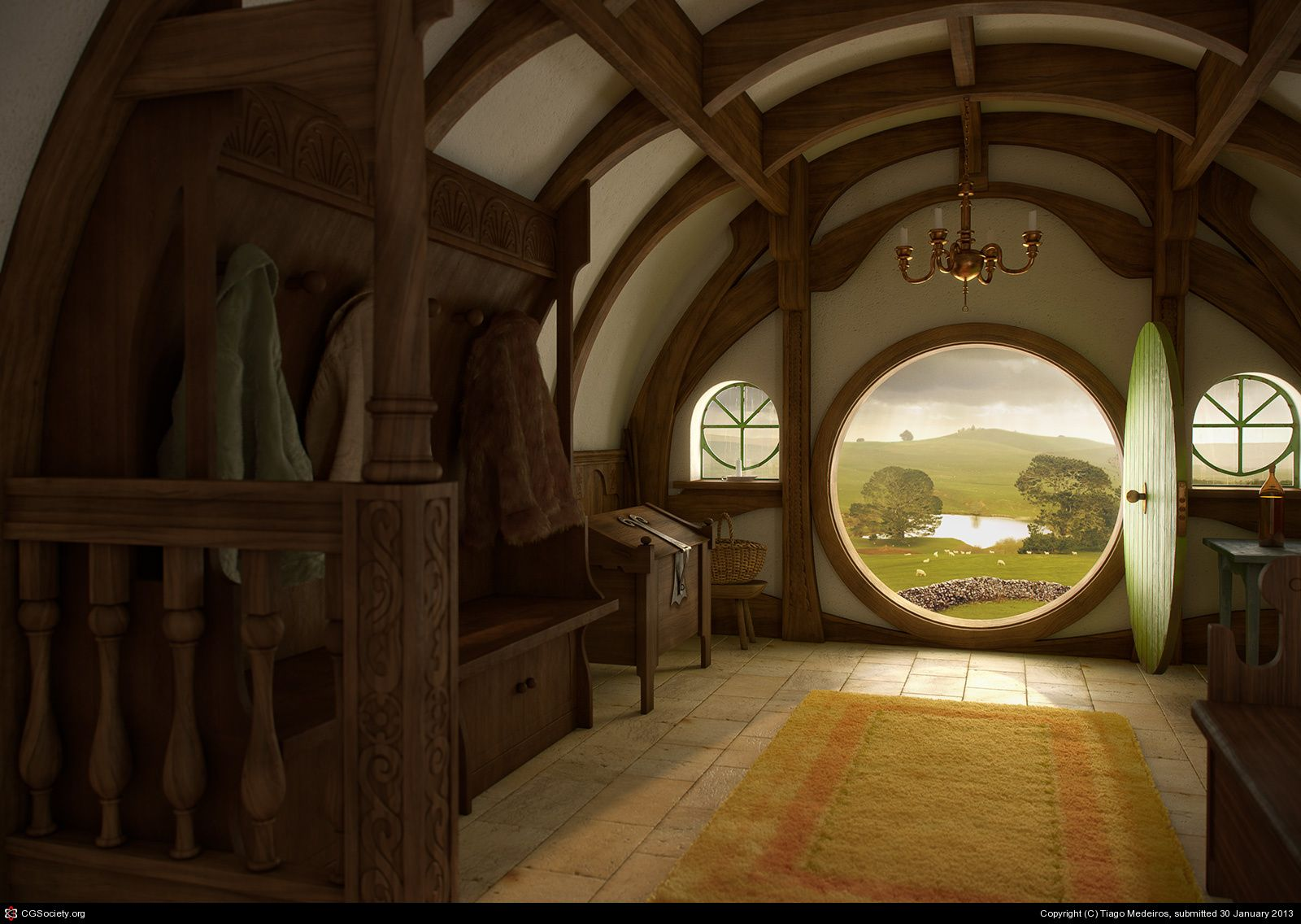 bag end tribute to john howe by tiago medeiros shire in 2019 home wallpaper earthship. Black Bedroom Furniture Sets. Home Design Ideas