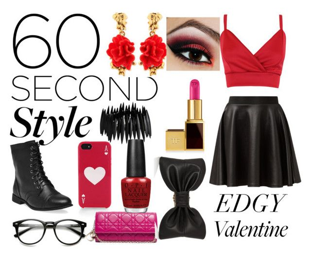 """Edgy Sweetheart"" by disney-dancer14 ❤ liked on Polyvore featuring Cameo Rose, Wet Seal, Kate Spade, Christian Dior, Oscar de la Renta, Pieces, OPI, Tom Ford, Balmain and edgyvalentine"