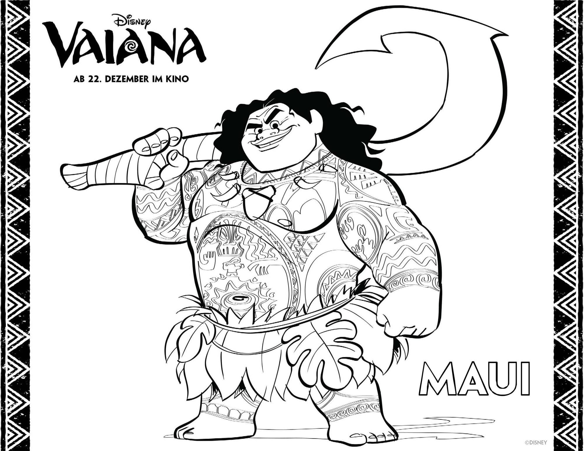 Ausmalbilder Vaiana Maui Ausmalen