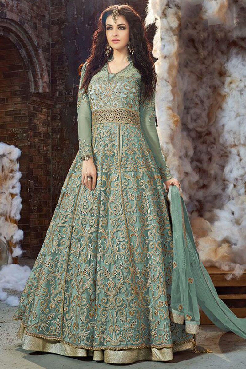 Blue Color Heavy Embroidery work Net Fabric Traditional Look Wedding ...