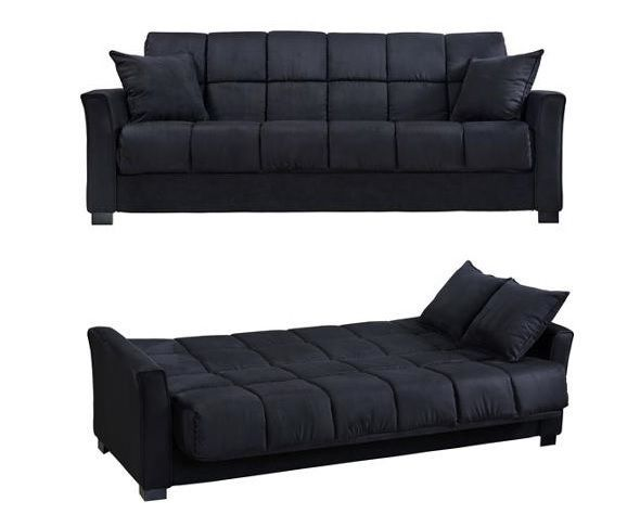 Convertible Sofa Bed Futon Couch Microfiber Sleeper Living Room Furniture  Black