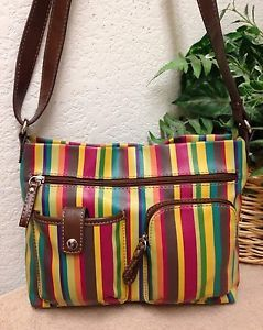 b4b674b6fbff Relic Multi Color Striped Pebble Faux Leather Crossbody Bag Shoulder  Handbag VGC