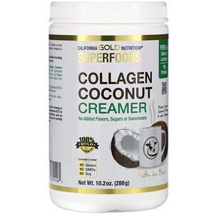 California Gold Nutrition Superfoods مسحوق مبيض قهوة بجوز الهند والكولاجين غير محلى 10 2 أونصة 288 جم Coconut Creamer Coconut Creamer Powder