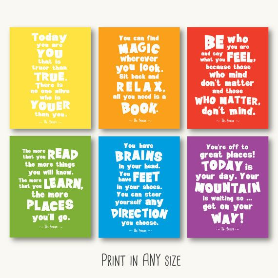 Inspirational Quotes About Positive: Dr Seuss Quote Print Set Primary Colors Printable