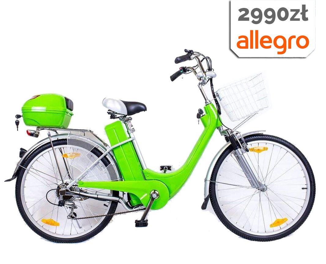 Rower Elektryczny 26 250w 36v 2018 Zielony Rowery