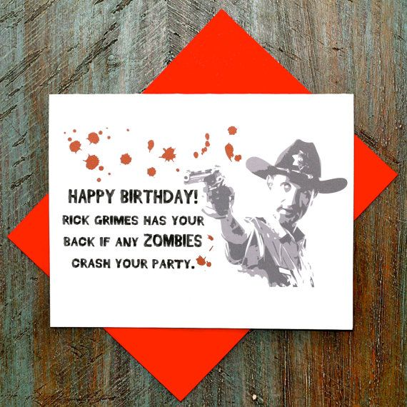 Girlzombieauthors Happy Birthday Free Zombie Story: The Walking Dead Rick Grimes Birthday Card By TurtlesSoup