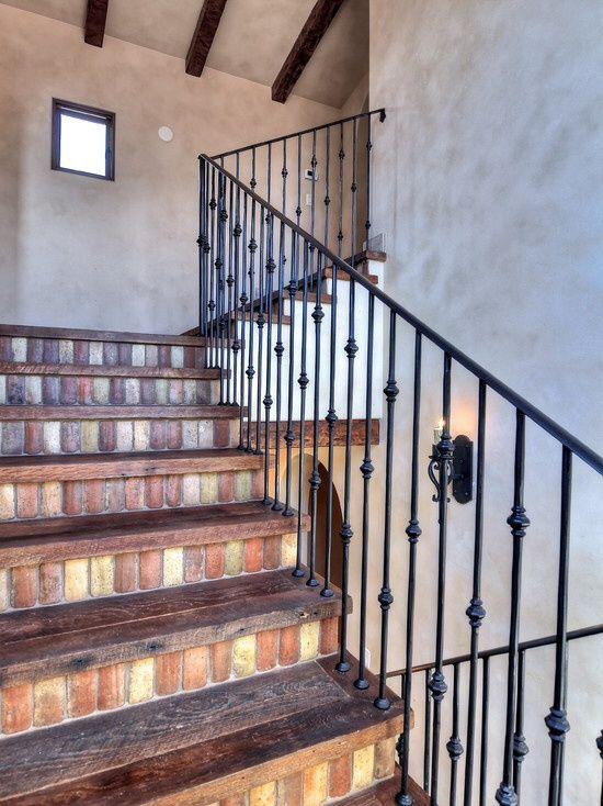 Best Mediterranean Staircase With Exposed Beam Hardwood Floors 400 x 300