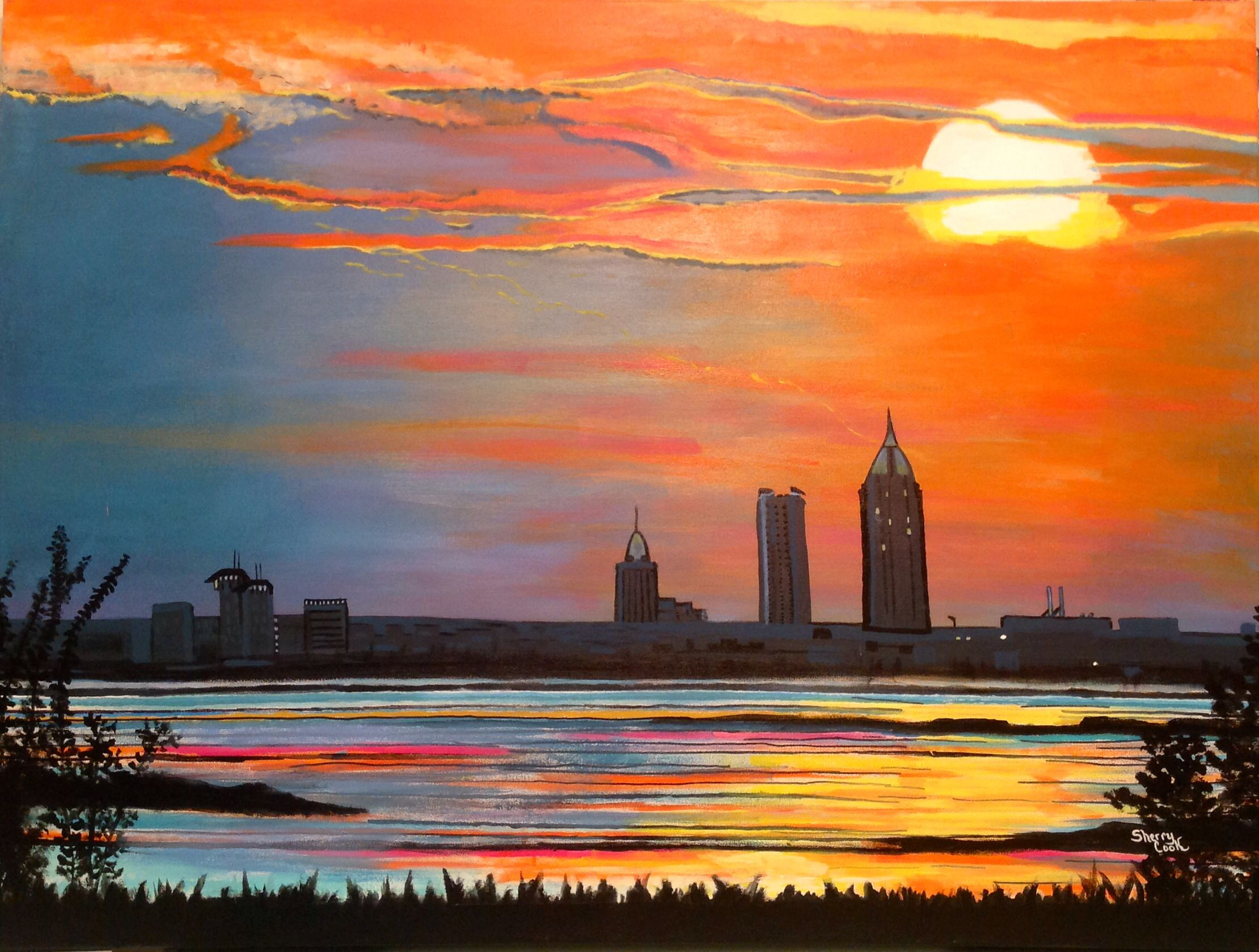 sunset in mobile alabama acrylic on canvas painting by sherry l
