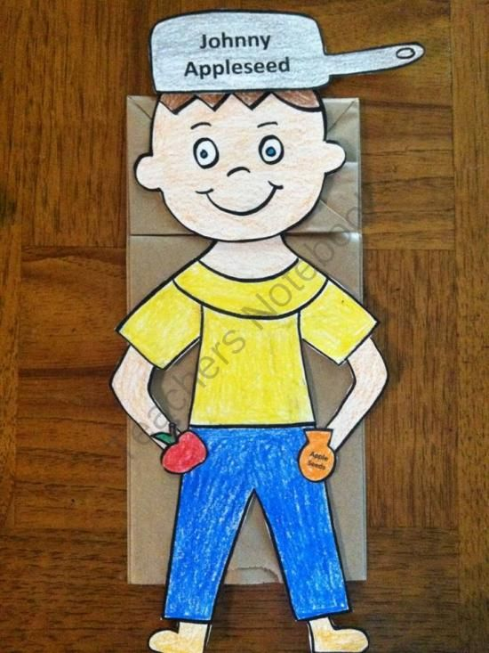 Johnny Appleseed Puppet And Coloring Book From Melissas Corner On TeachersNotebook 6 Pages