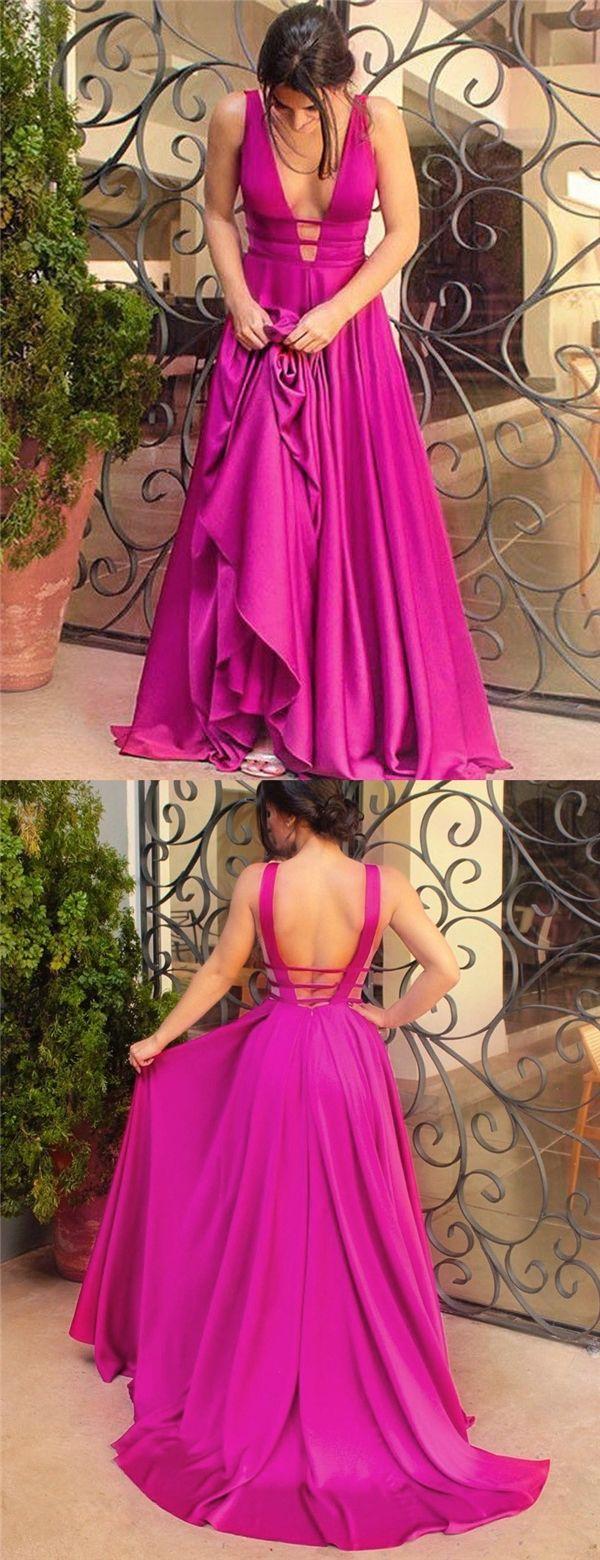 Aline deep vneck backless sweep train fuchsia satin prom dress