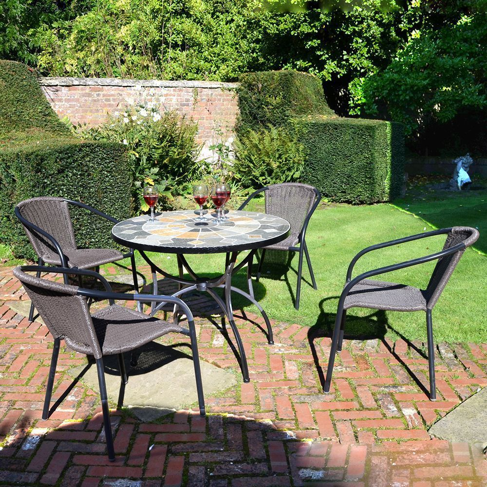 7 Seater Garden Dining Set Stone Steel Table Resin Weave Chair