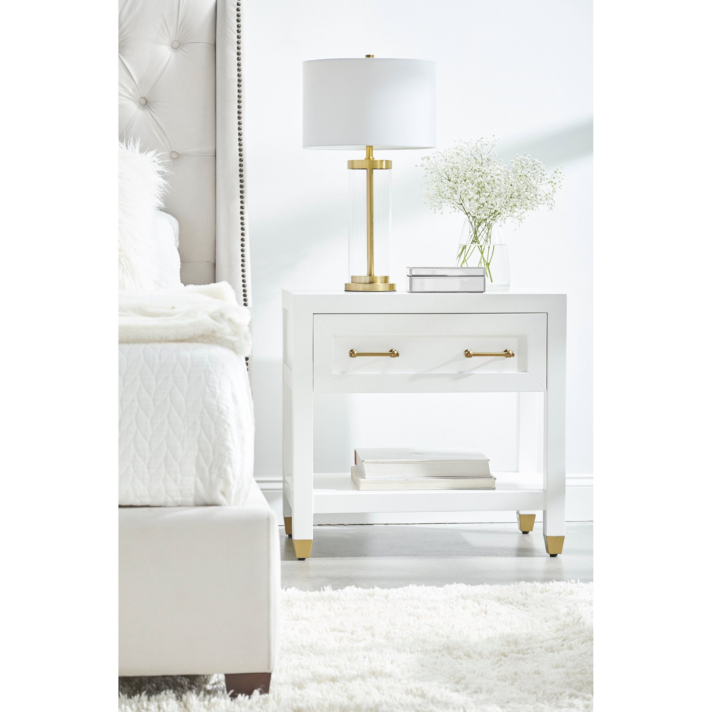 Stacy Modern Classic 1 Drawer Brass Accent White Nightstand Gold Bedroom Decor White Gold Bedroom White Nightstand
