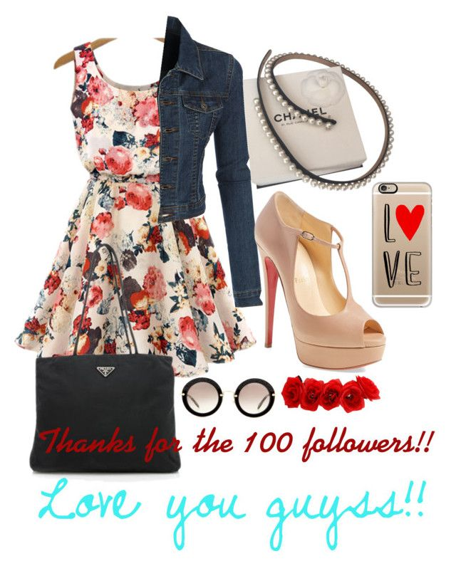 """❤️❤️❤️❤️❤️"" by agusmachado16 on Polyvore featuring Chanel, Prada, LE3NO, Christian Louboutin, Casetify, Miu Miu, women's clothing, women, female and woman"