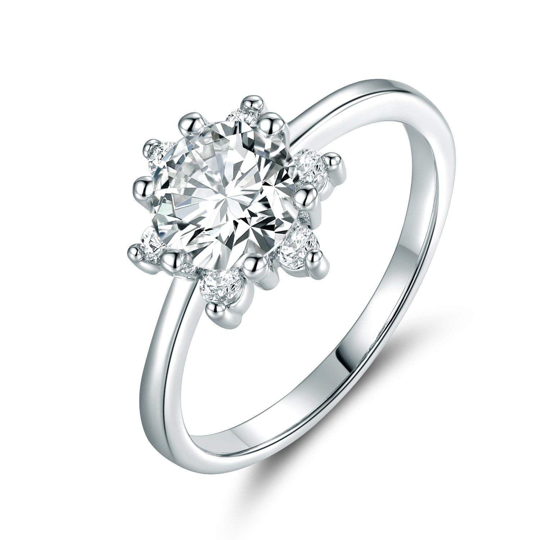 GULICX Elegant Flower Cubic Zirconia CZ Engagement Ring