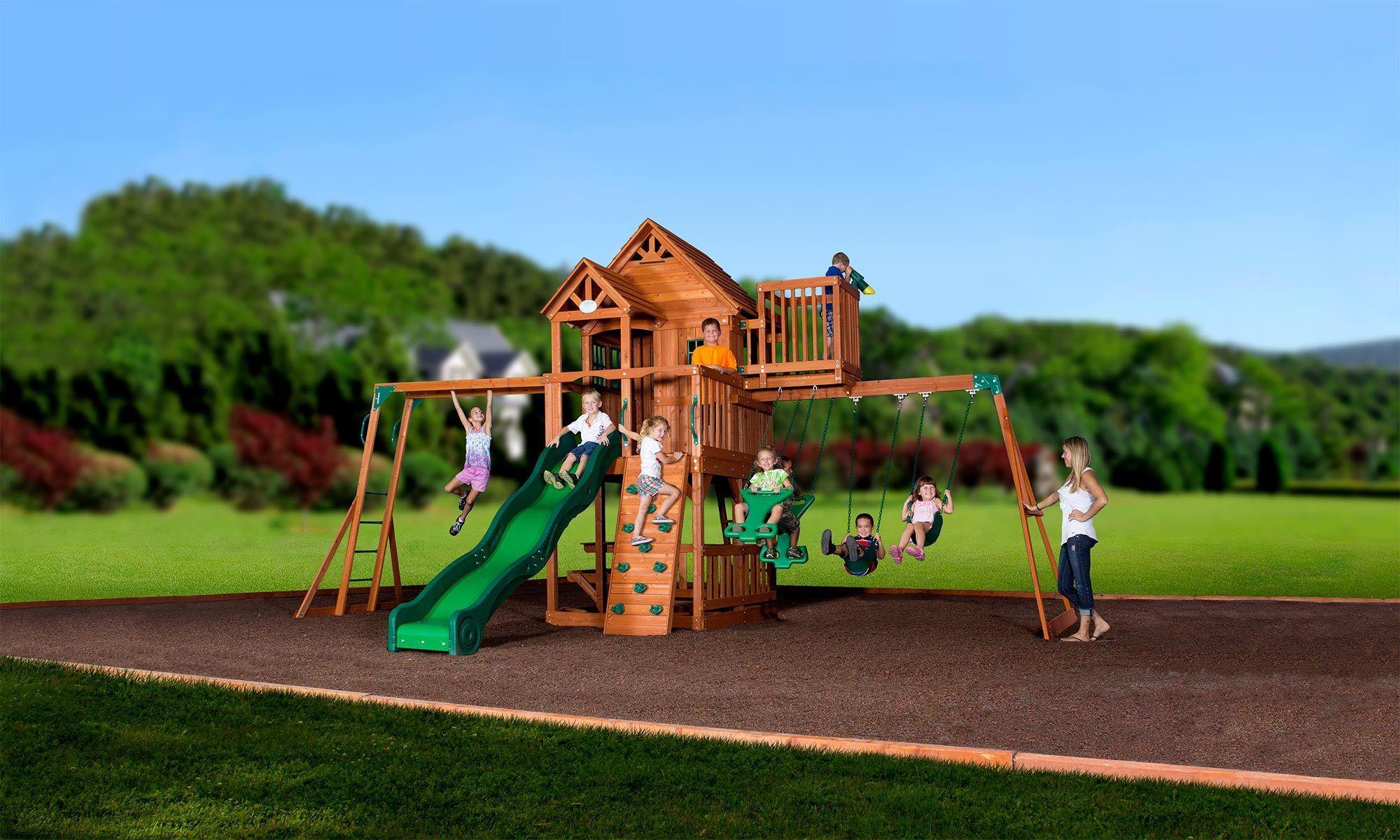 Skyfort Ii Wooden Swing Set Wooden Swing Set Kids Wooden Playhouse Kids Swing