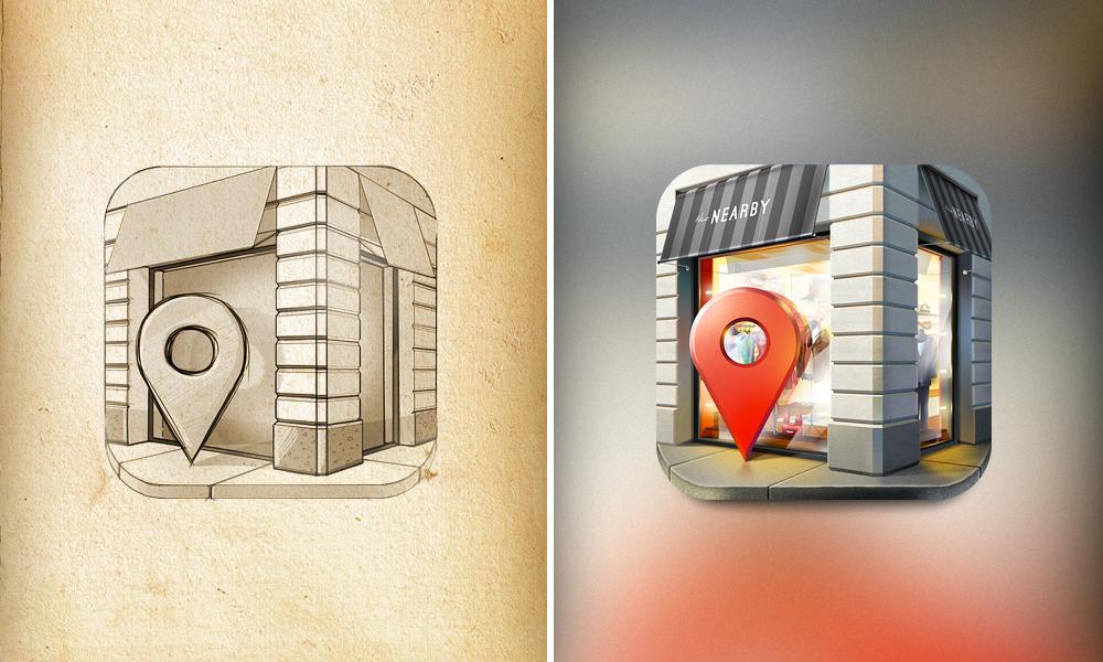 Dribbblemorenearby App icon design, Ios app icon, Ios icon