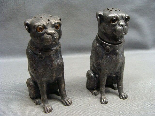 Victorian silver pug shakers with glass eyes so cute; expensive too!