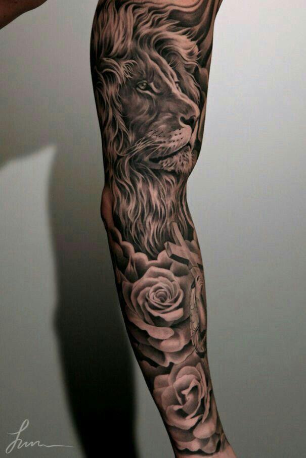 Tatouage De Bras Lion · Lion Rose