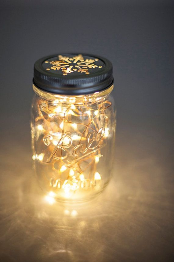Snowflake ball mason jar christmas lights, Copper wire fairy ...