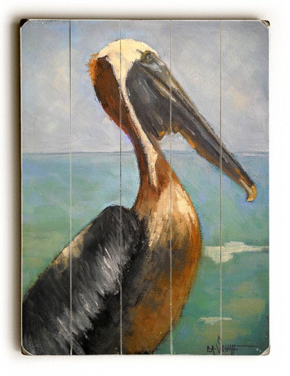 Pelican Print On Wood Planks Beach Wall Decor Giclee Free Shipping
