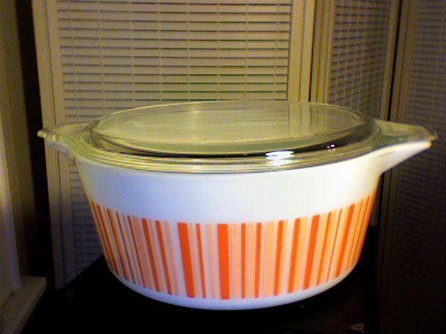 Rare Vintage Pyrex Promo Dish 475-B BARCODE Orange Stripe 2&1/2 QT Ovenware #Pyrex