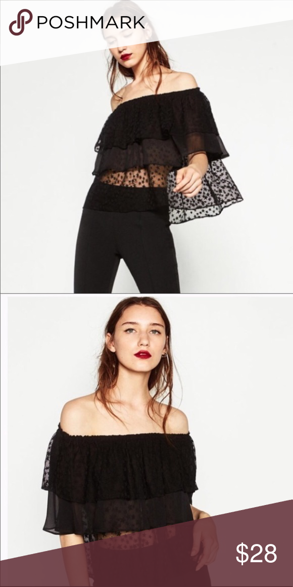 ca325b76b4df43 Zara Black Stars Off Shoulder Top New w out Tags Black Star Top from Zara  Off the shoulders New without tags Zara Tops Blouses