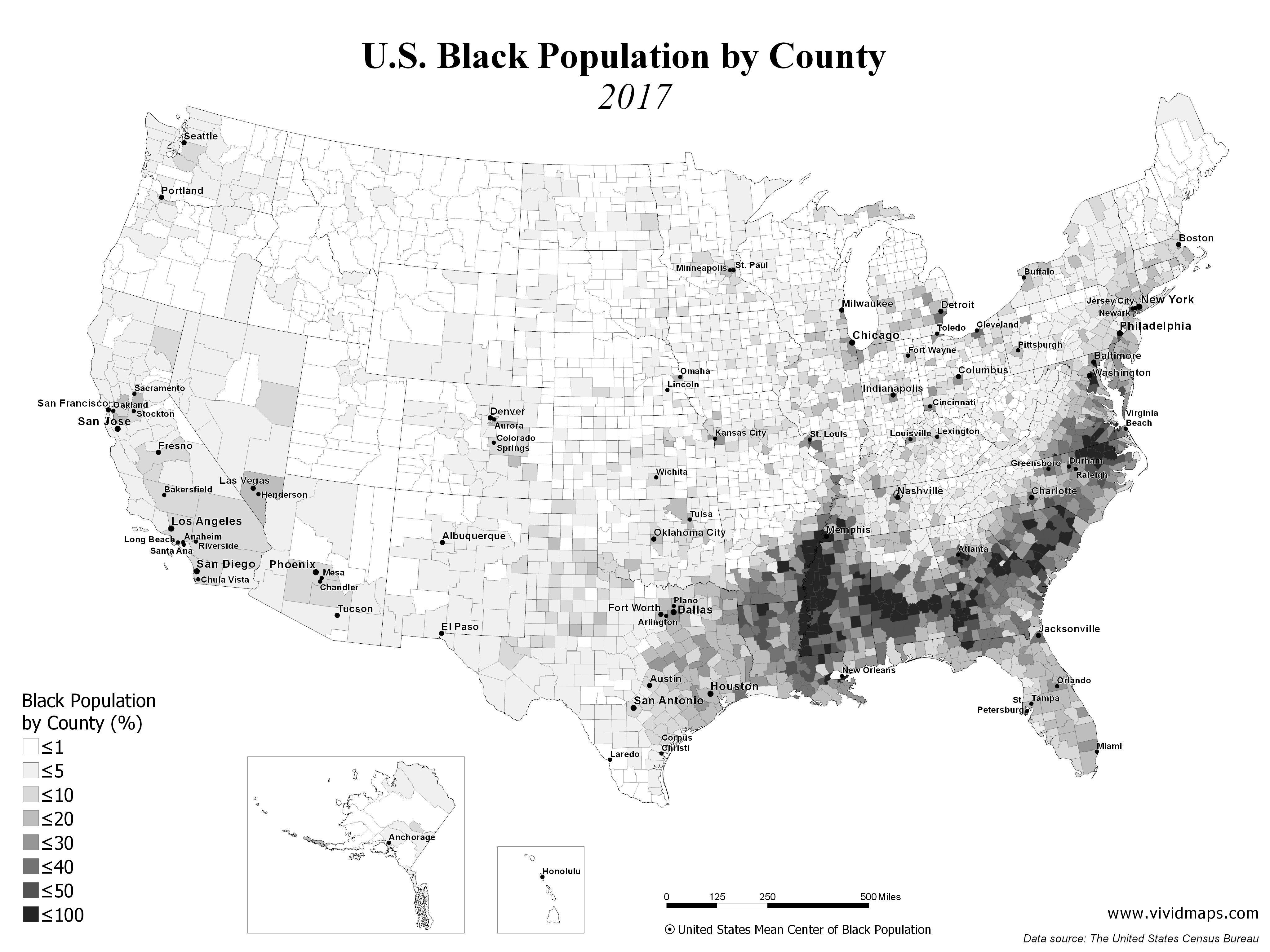 U S Black Population By County 1990 2017 Black American African History Black
