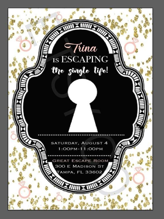 Escape Room Bachelorette Party Invitations Clue Dinner Party