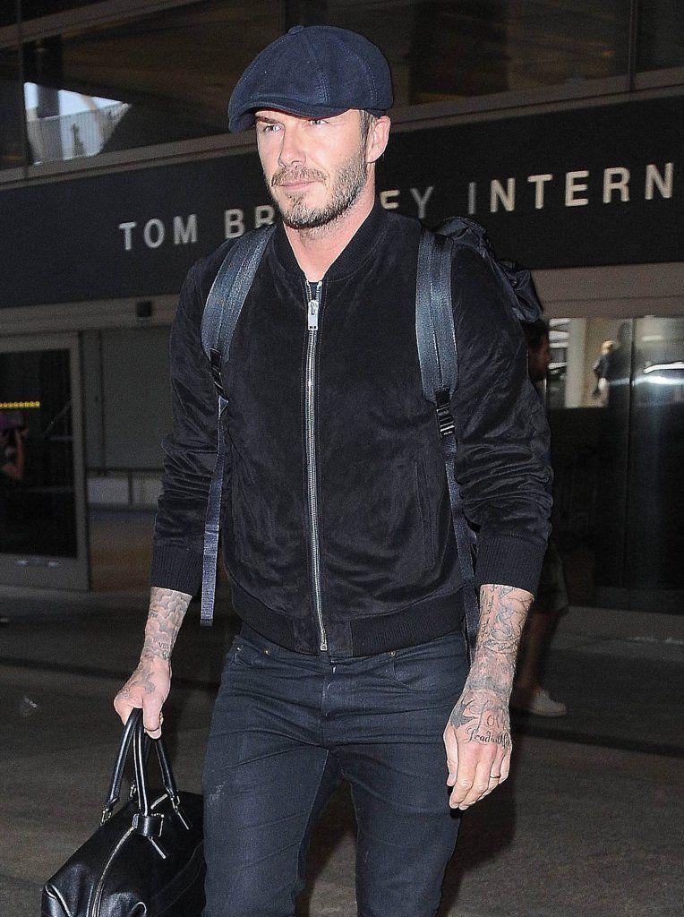 e6d73670f74d3 David Beckham Spotted in Saint Laurent Suede Bomber Jacket image David  Beckham Suede Bomber