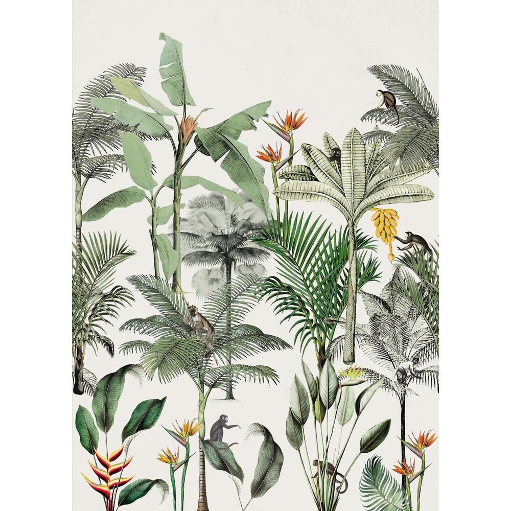 Walls Republic Above The Tropics Mural Green Paper Wet Removable Roll Covers 57 Sq Ft M9827 The Home Depot Mural Mural Wallpaper Tropical Wallpaper