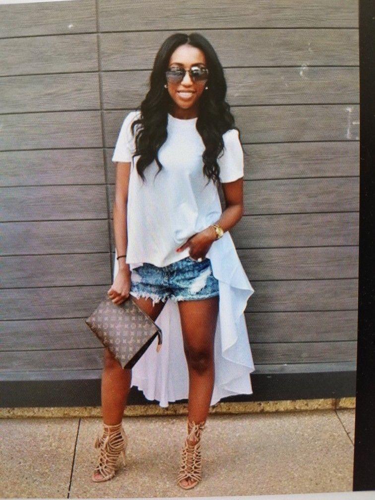 High Low Top Shorts And Heels Womens Fashion Fashion Fashionista