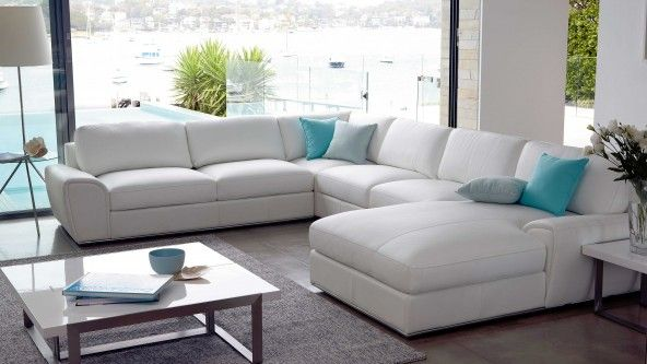 Riva 6 Seater Modular Leather Lounge – White Leather - Lounges ...