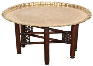 Moroccan Tea Tray Table In Gold Br With Wooden Legs The Can Be Used On Base Or As