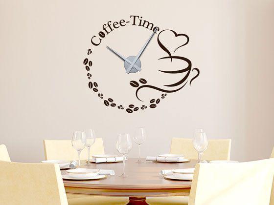 New  Wandtattoo Uhr Coffee Time f r Ihre K che Wanduhr Wanddeko