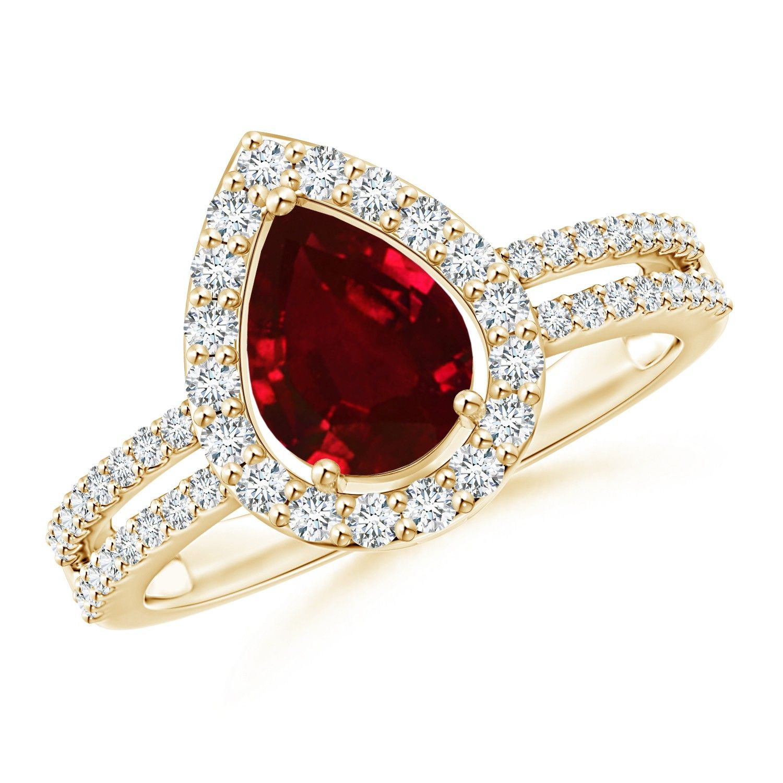 Angara Round Ruby and Diamond Halo Split Shank Ring in Platinum ewHNq