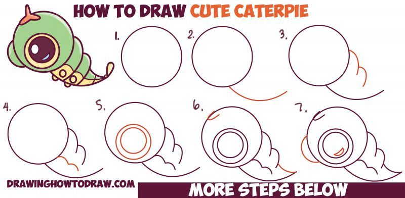 How To Draw Cute Chibi Kawaii Caterpie From Pokemon Easy Step By Step Drawing Tutorial For Kids How To Draw Step By Step Drawing Tutorials Drawing Tutorials For