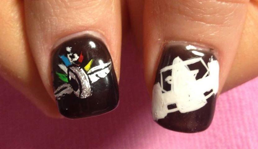 For the Indy 500 - race themed nails by Little Nail Shop ...