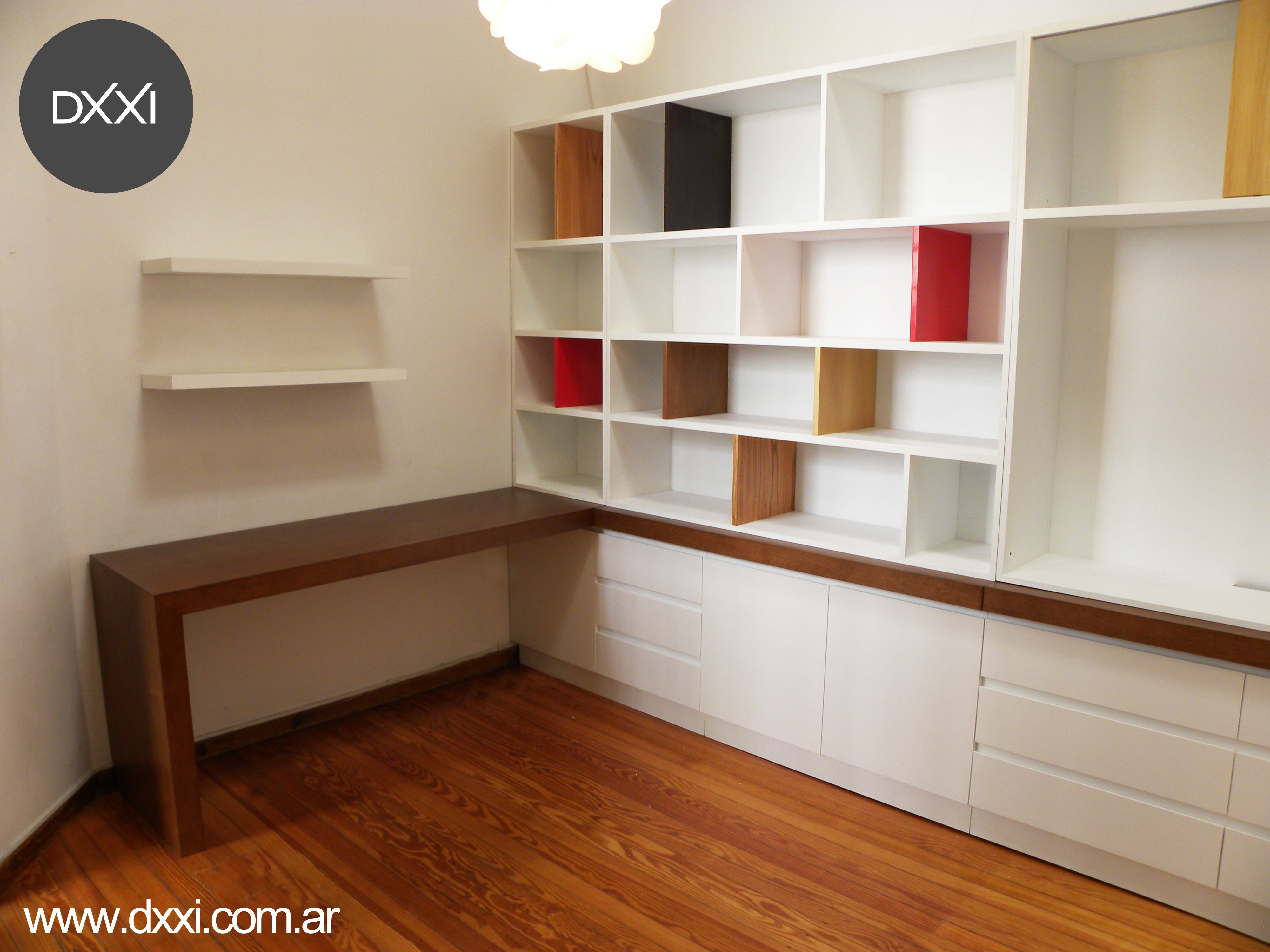 Biblioteca escritorio modelo bricolage mdf laqueado y for Muebles en madera mdf