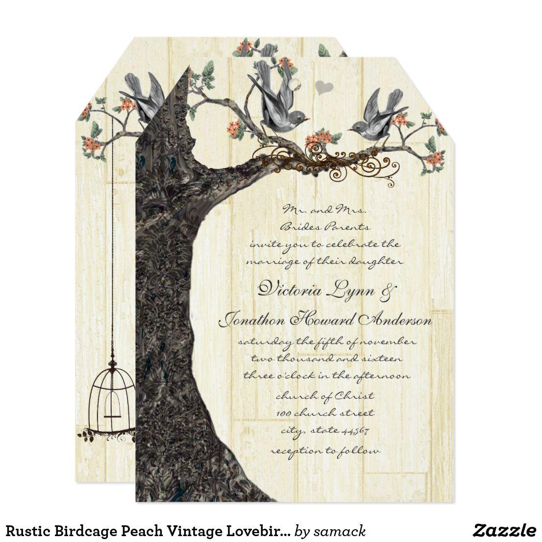 Rustic Birdcage Peach Vintage Lovebirds Wedding Card Wedding Card