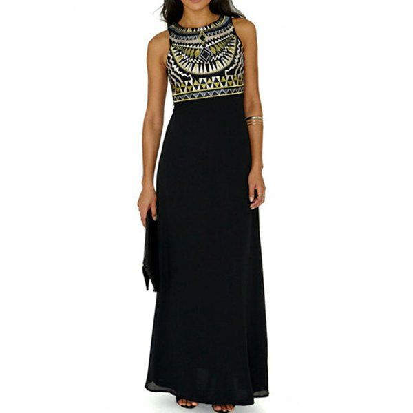 Wholesale Stylish Round Collar Sleeveless Chiffon Printed Women's Dress Only $5.84 Drop Shipping | TrendsGal.com
