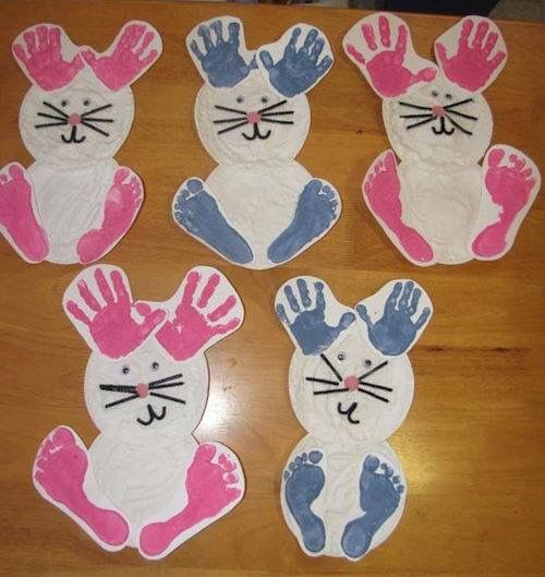 Too Cute Bunnies Made With Hand And Foot Prints Easter Crafts