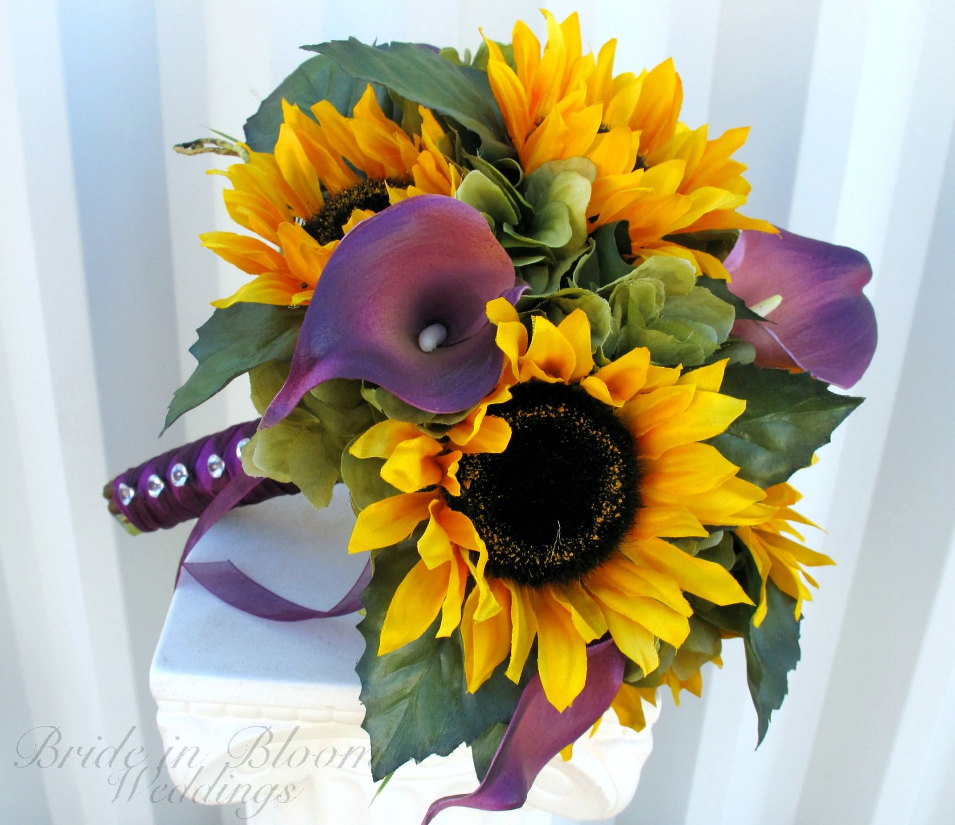 A Bride in Bloom sunflower & purple calla lily Wedding bouquet ...