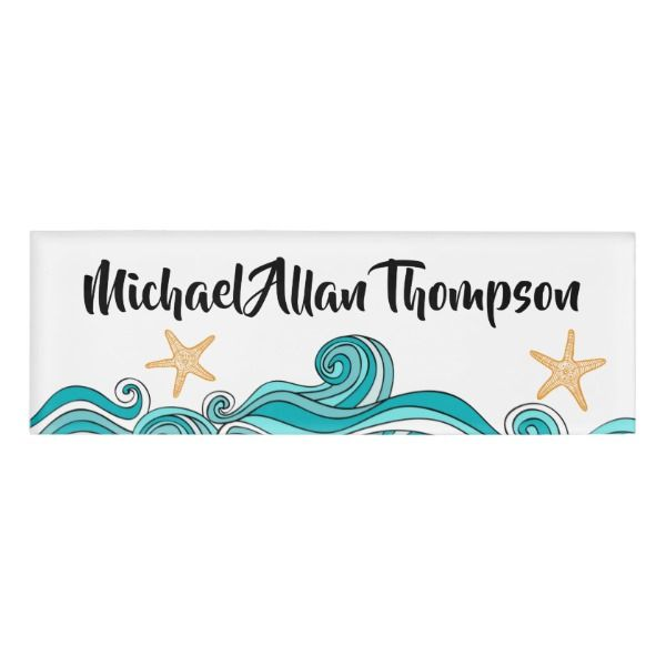 Starfish And Ocean Personalized Name Tag Custom Nametags Teacher Tutor Business Officesupplies