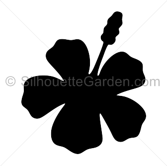Hibiscus silhouette clip art. Download free versions of the image in EPS, JPG, PDF, PNG, and SVG formats at http://silhouettegarden.com/download/hibiscus-silhouette/
