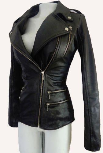 5f59f37b208b Balmain Womens Winter Leather Jacket With Front Pockets Black X MAS SALE